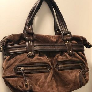 Cole Haan Madelyn satchel in chocolate brown suede
